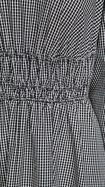 Proenza Schouler White Label Plaid Puff Sleeve Poplin Dress