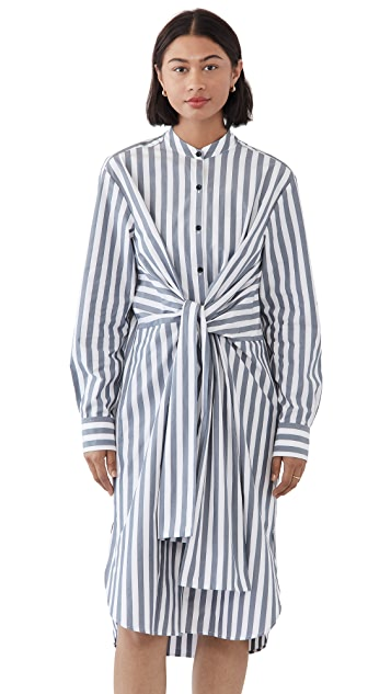Proenza Schouler White Label 条纹府绸绑带衬衣连衣裙