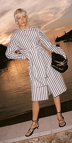 Proenza Schouler White Label - Stripe Poplin Tied Shirt Dress