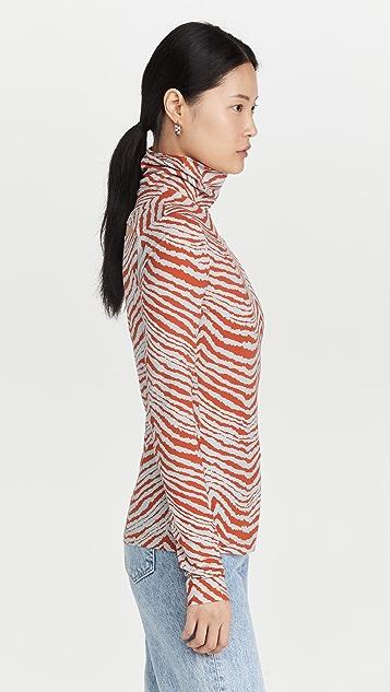 Proenza Schouler White Label Geometric Zebra Turtleneck Top