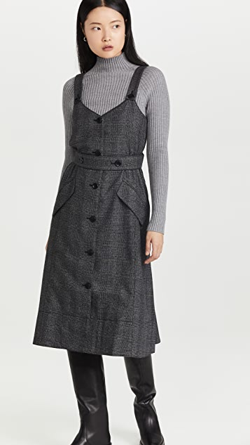 Proenza Schouler White Label Plaid Suiting Trench Dress