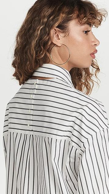 Proenza Schouler White Label Stripe Poplin Cropped Shirt