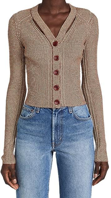 Proenza Schouler White Label Micro Stripe Rib Knit Cardigan