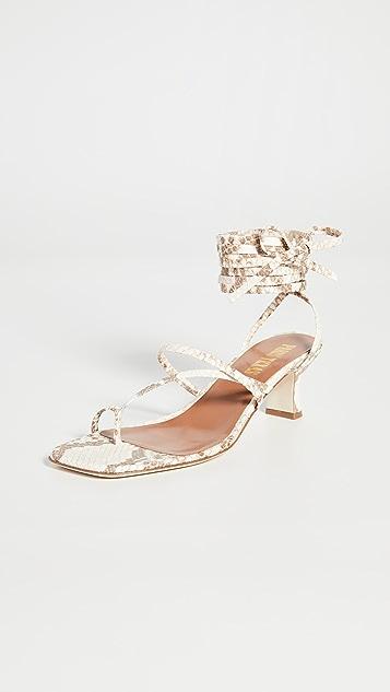 Paris Texas 褪色蟒蛇纹印花环绕式凉鞋