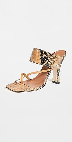 Paris Texas - 蟒蛇纹印花交叠夹趾凉鞋