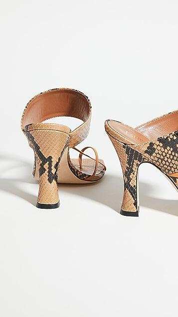 Paris Texas 蟒蛇纹印花交叠夹趾凉鞋
