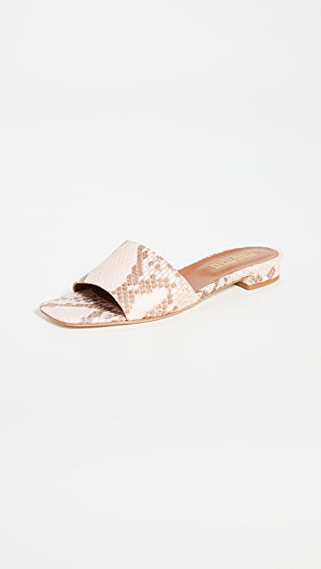 Paris Texas Faded Python Print Square Toe Flats
