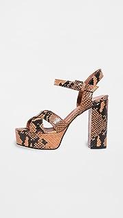 Paris Texas Python Print Platform Sandals