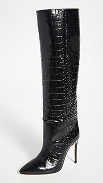 Moc Croco Tall Boots Stiletto Heel