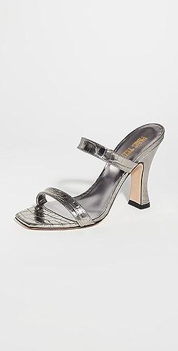Paris Texas - 金属色鳄鱼纹双重固定带穆勒凉拖鞋
