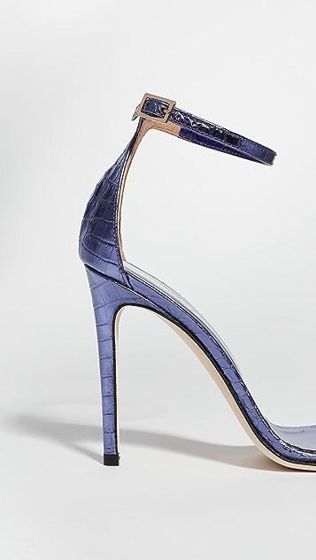 Paris Texas 金属色鳄鱼纹凉鞋