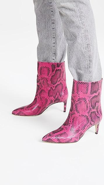 Paris Texas Python Print Seamed Ankle Boot Stilettos