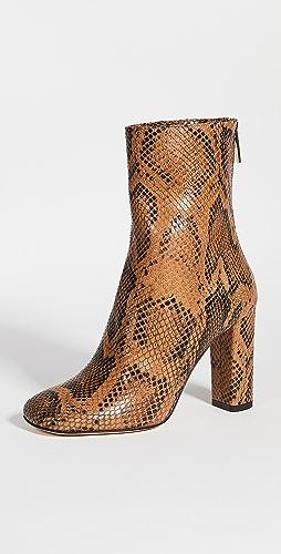 Paris Texas - 蟒蛇纹印花方头拉链踝靴