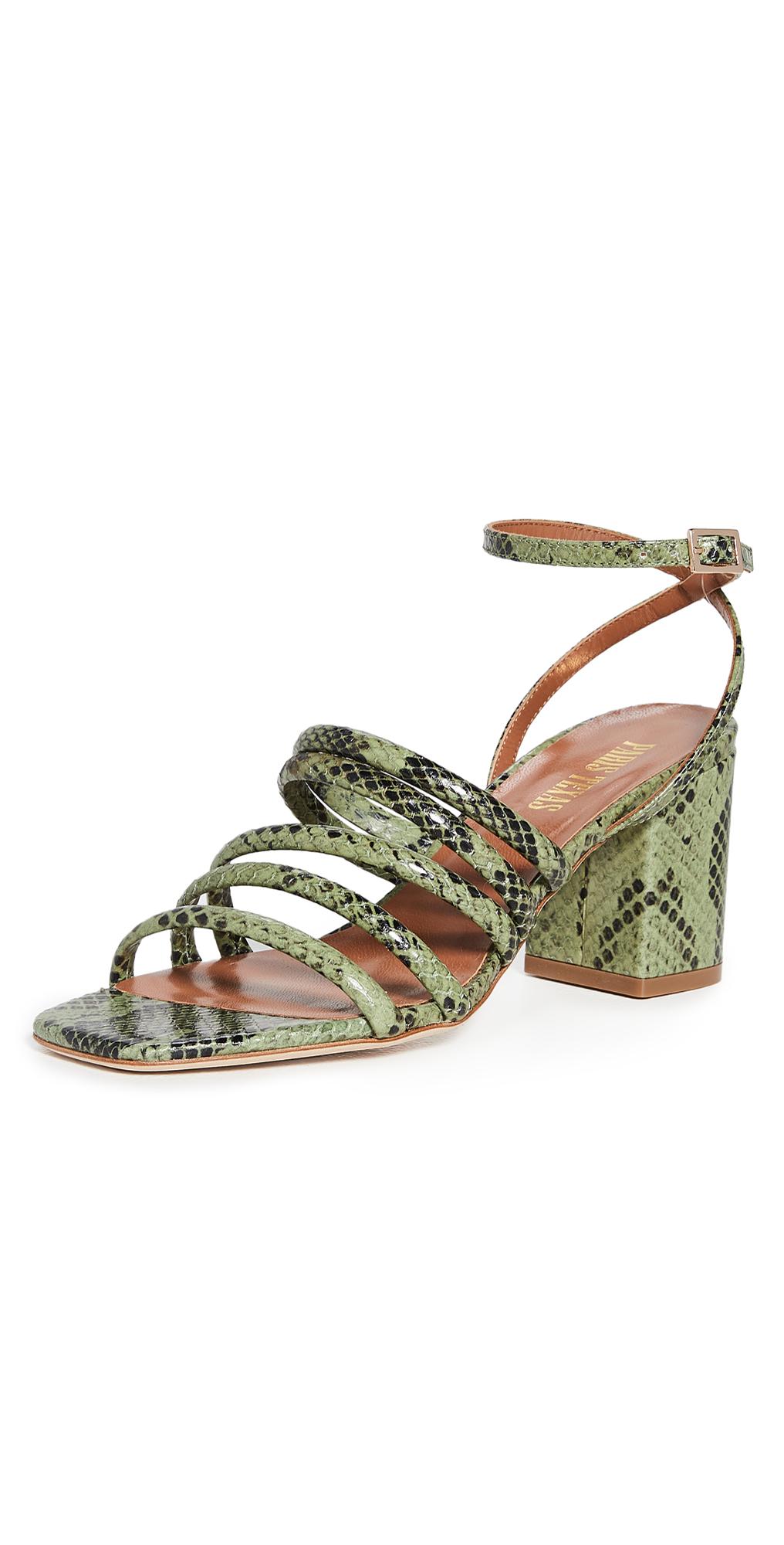 Paris Texas Carla Snake-print Strappy Sandals In Cactus