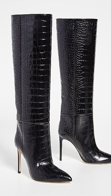 Paris Texas Moc Croco Stiletto Heel Tall Boots