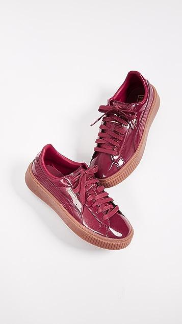 puma basket platform burgundy