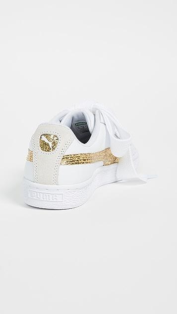 PUMA Basket Heart Glitter Sneakers