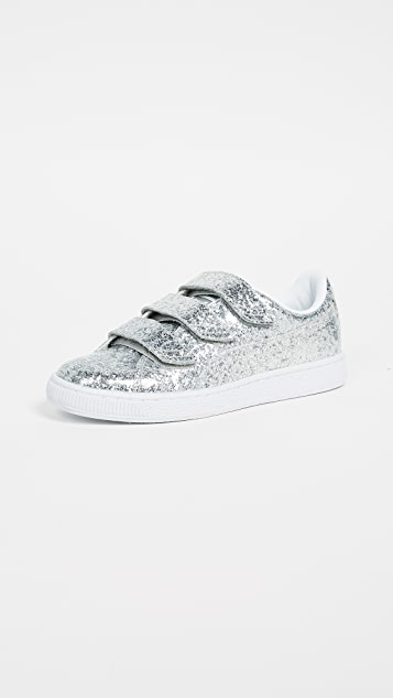 PUMA Basket Strap Glitter Sneakers - Silver/Silver