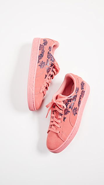 PUMA Suede Classic Basket Floral Sneakers