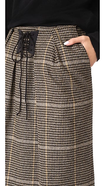 pushBUTTON Check Plaid Midi Skirt