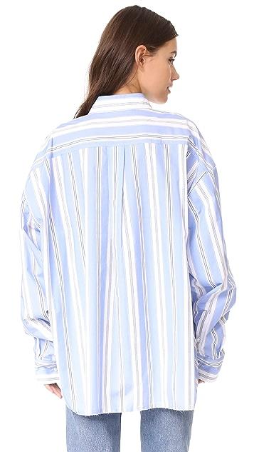 pushBUTTON Stripe Button Down Blouse