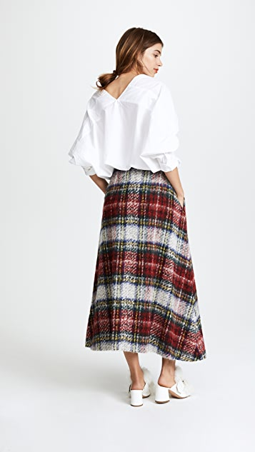 pushBUTTON Plaid Midi Skirt