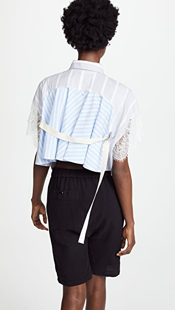 pushBUTTON Collared Wrap Back Blouse