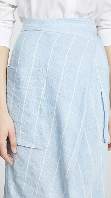 pushBUTTON Striped Midi Skirt