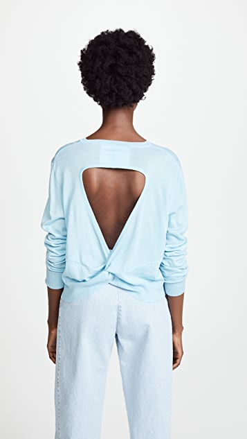 pushBUTTON V Neck Open Back Sweater