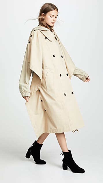pushBUTTON Hooded Khaki Trench