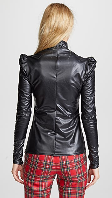pushBUTTON Turtleneck Faux Leather Top