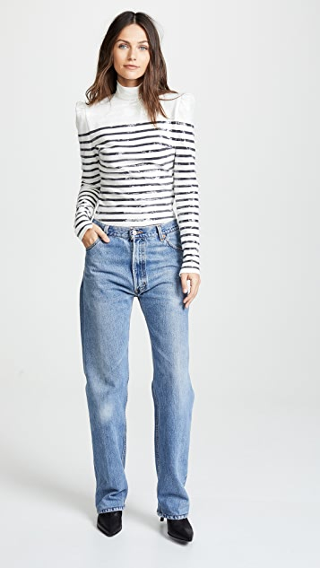 pushBUTTON Sequin Collared Stripe Top
