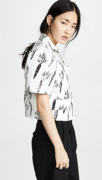 pushBUTTON Cropped Puff Sleeve Top