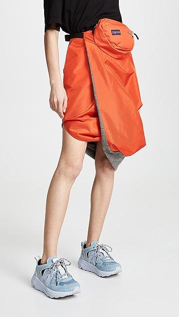 pushBUTTON Utility Contrast Skirt - Orange/Grey