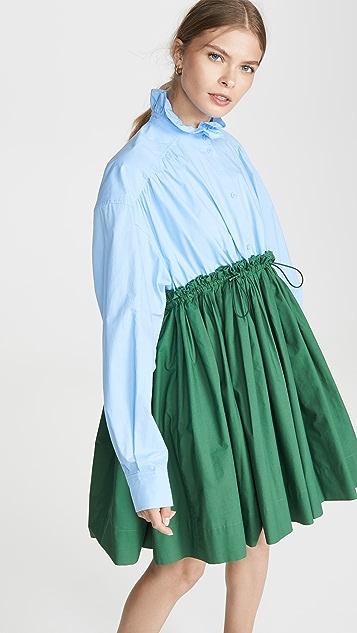 pushBUTTON 褶皱迷你衬衣连衣裙