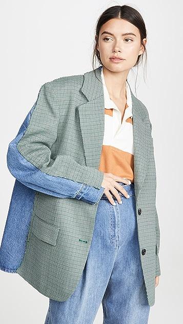 pushBUTTON Shirt Back Check Jacket