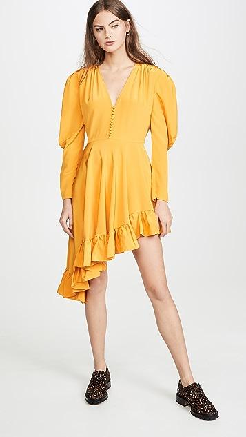 pushBUTTON Платье Diagonal Line с оборками
