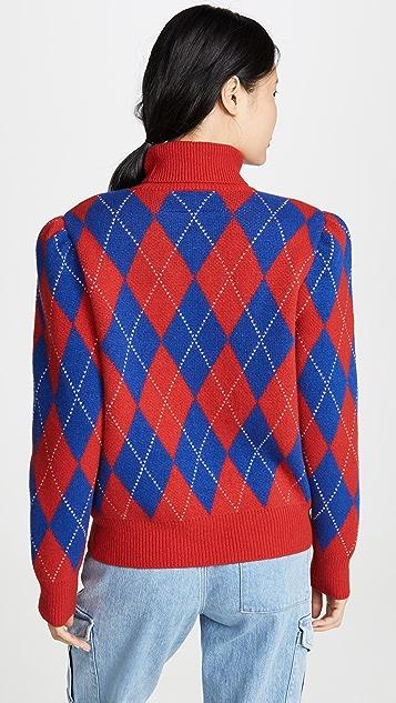 pushBUTTON 菱形花纹针织高领上衣