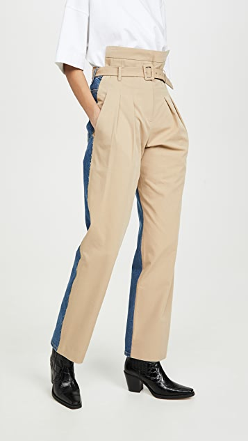 pushBUTTON Front-Up Pintuck Mixed Pants