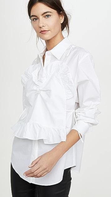 pushBUTTON Рубашка с остроконечными оборками спереди
