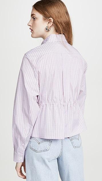 推扣设计 文胸款式抽褶女式衬衫