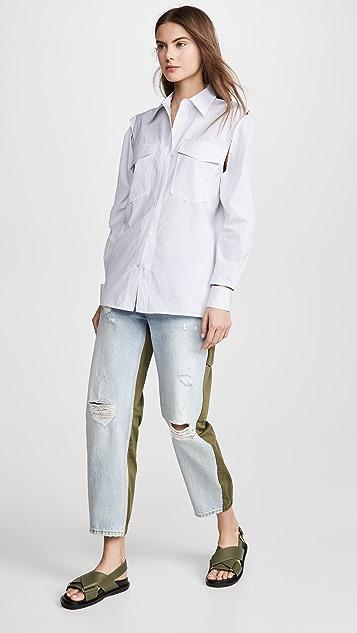 推扣设计 镂空衬衫