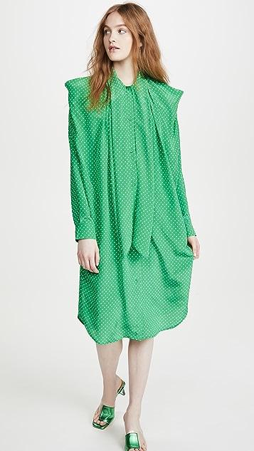 pushBUTTON Ribbon Neck Silk Shirt Dress