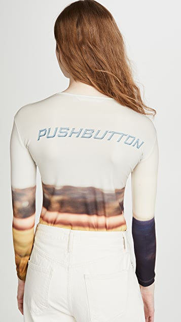 pushBUTTON Horse Long Sleeved T-Shirt