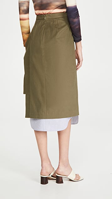 pushBUTTON Layered Side Open Skirt