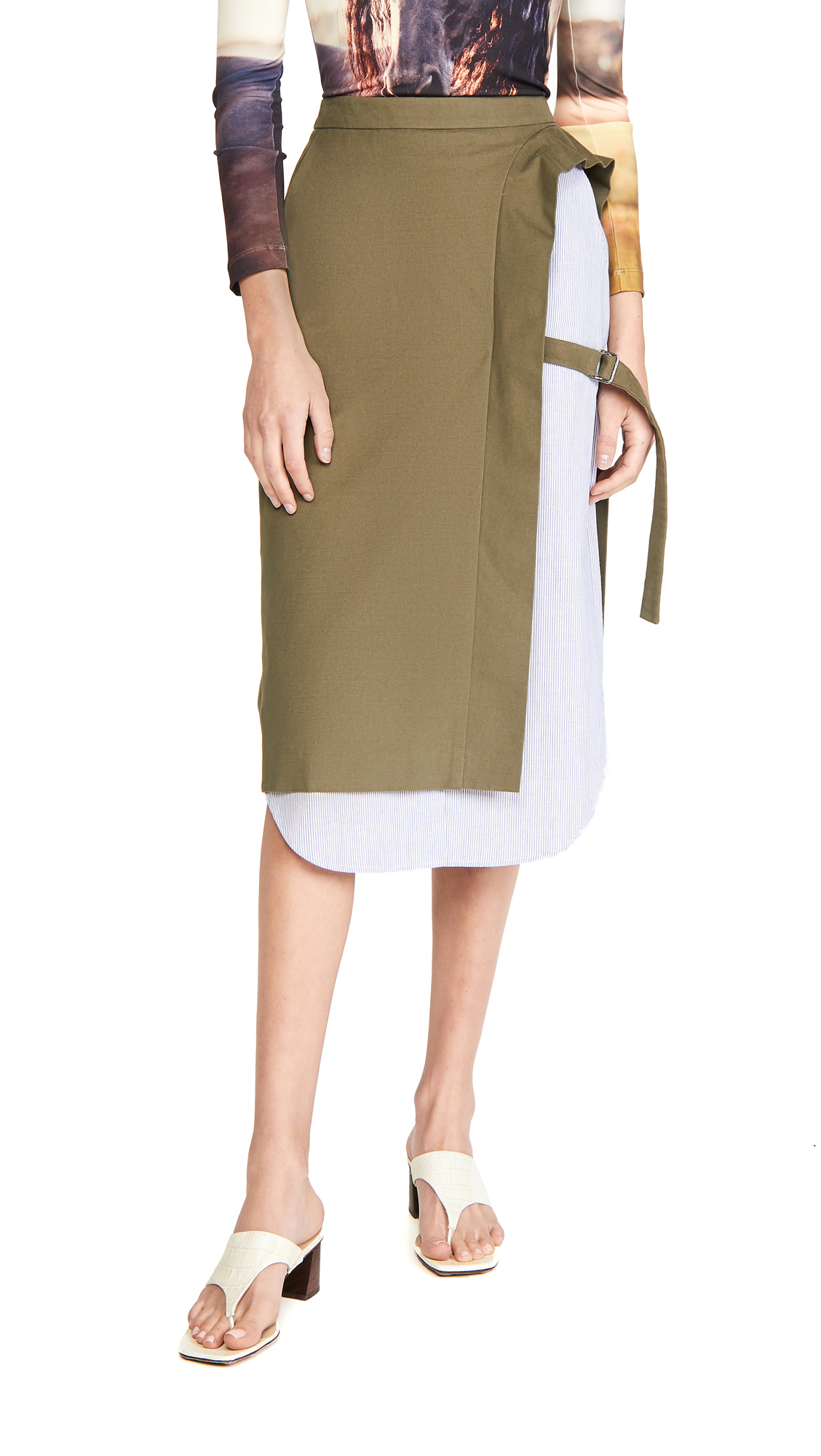 pushBUTTON Layered Side Open Skirt
