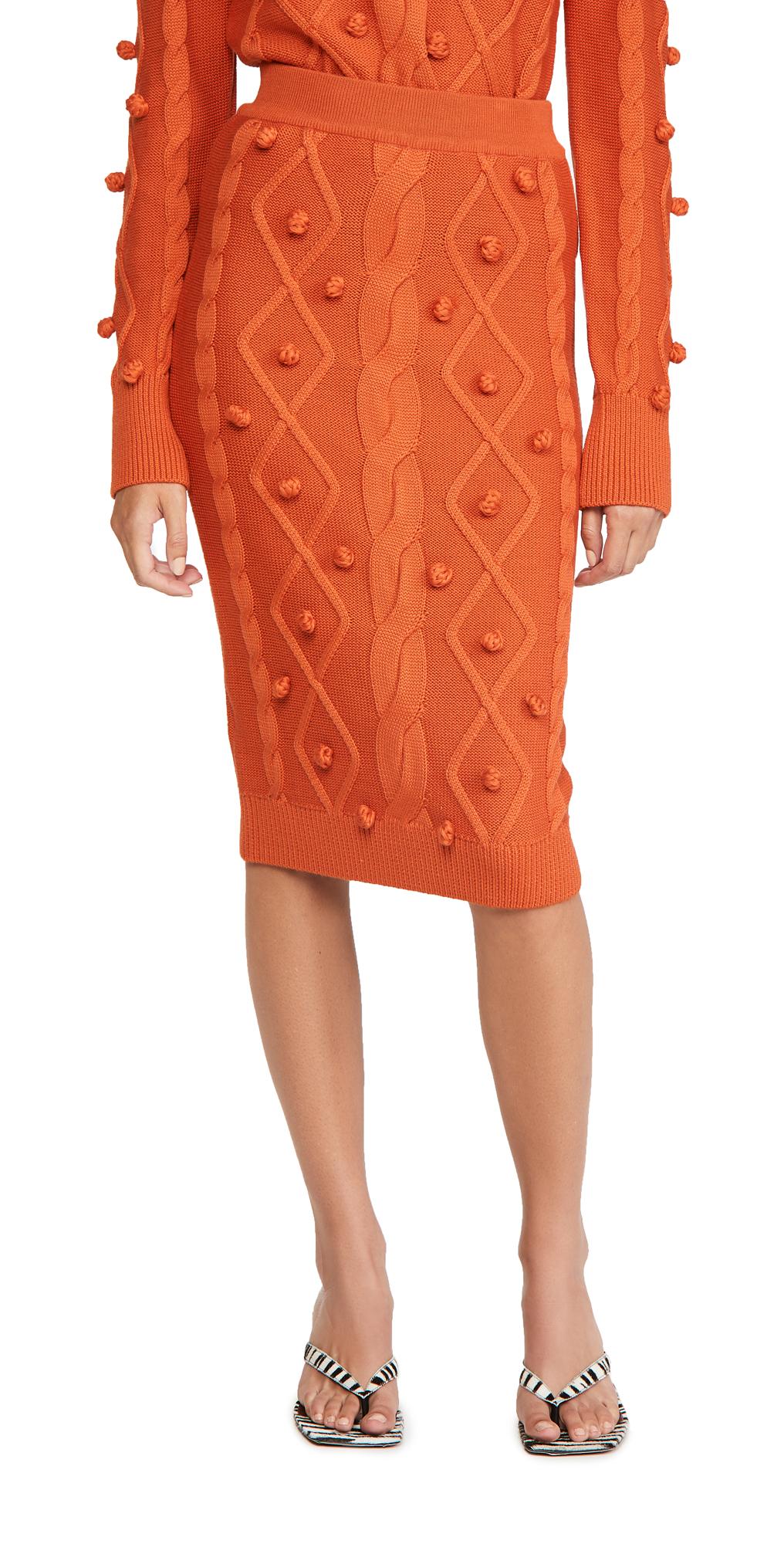 pushBUTTON Pom Pom Cable Knit Skirt