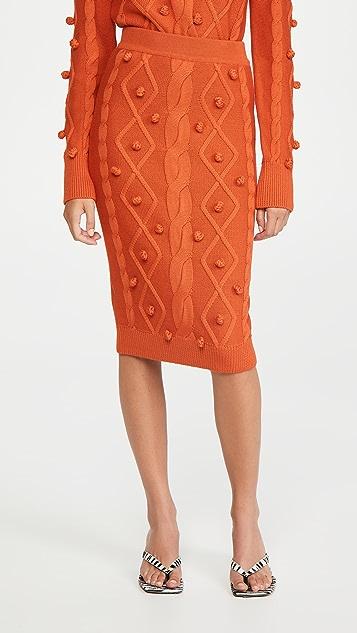 推扣设计 绒球绞花针织半身裙