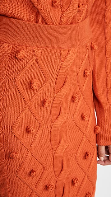 pushBUTTON Pom Pom Cable Knit Skirt 1FCLLN6T