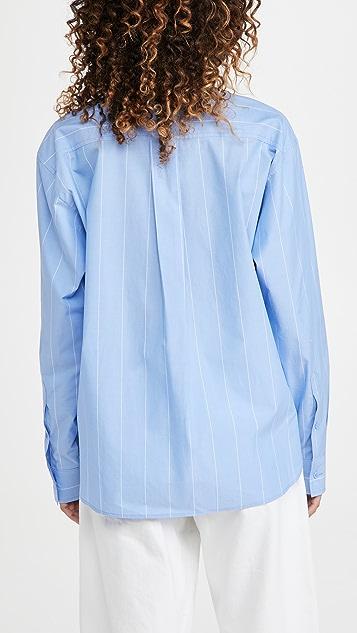 推扣设计 分层衣袖条纹衬衣